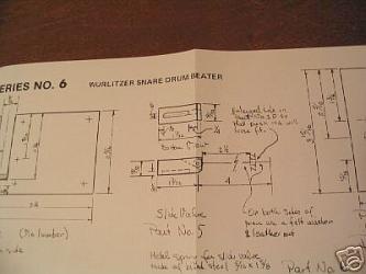 Wurlitzer snare drum beater plans by W.J. Kerchner